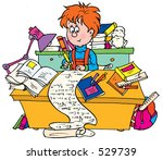 schoolboy writing cheat sheets | Shutterstock . vector #529739