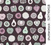 vector mixed fruit seamless... | Shutterstock .eps vector #529740418