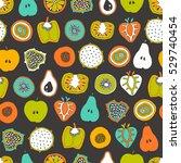 vector mixed fruit seamless... | Shutterstock .eps vector #529740454
