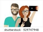happy couple making selfie ...   Shutterstock .eps vector #529747948