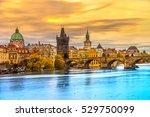 prague  view of charles bridge... | Shutterstock . vector #529750099