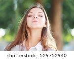 beauty sunshine girl portrait.... | Shutterstock . vector #529752940