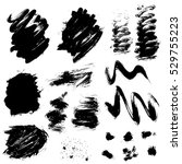 set of black blots and ink... | Shutterstock . vector #529755223