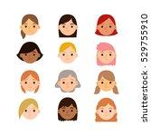 set of different cute cartoon... | Shutterstock .eps vector #529755910