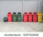 wheel recycle bins in red ... | Shutterstock . vector #529763440