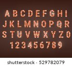 retro font with light bulbs.... | Shutterstock .eps vector #529782079