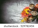 dry indian spices and herbs. on ... | Shutterstock . vector #529782454