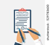 man and woman sign prenuptial... | Shutterstock .eps vector #529783600