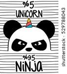 Stock vector cute panda ninja panda and unicorn 529788043