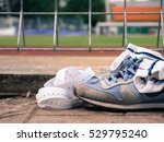 running shoes with measuring... | Shutterstock . vector #529795240