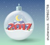 transparent christmas ball.... | Shutterstock .eps vector #529802758