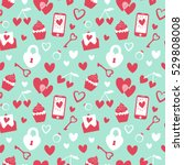 Valentine's Day vector seamless pattern. Flat cartoon elements on blue isolated background. Cute girly stuff pattern design. Great for wrapping and textile.