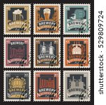 set of postage stamps on the... | Shutterstock .eps vector #529809724