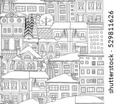 winter town seamless pattern.... | Shutterstock .eps vector #529811626