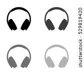 headphones    black vector icon | Shutterstock .eps vector #529819420