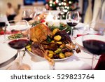christmas meal laid on table in