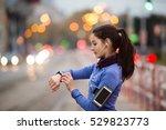young woman in blue sweatshirt... | Shutterstock . vector #529823773