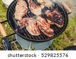 delicious barbecue on an open... | Shutterstock . vector #529825576
