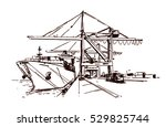 large quay cranes and container ... | Shutterstock .eps vector #529825744