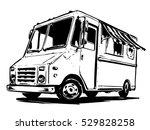 mobile kitchen lunch van. black ... | Shutterstock .eps vector #529828258