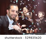 poker players sitting around a... | Shutterstock . vector #529835620