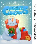 funny christmas snowman in ear... | Shutterstock .eps vector #529845178