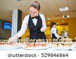 restaurant waitress serving... | Shutterstock . vector #529846864