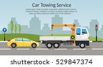 tow truck city road assistance... | Shutterstock .eps vector #529847374