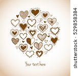 card with doodle sketch hearts... | Shutterstock .eps vector #529858384