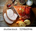 roasted pork slices on rustic... | Shutterstock . vector #529860946