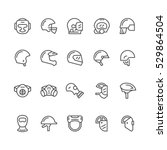 Set Line Icons Of Helmets And...