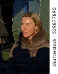 Small photo of Florennes airbase, Belgium. 30/11/2016. Federica Mogherini, High Repres. of the EU Foreign Affairs and Security Policy; Black Blades 2016; Helicopter Exercise Programme of European Defence Agency