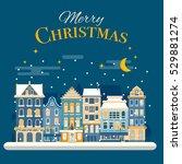 christmas village joy scene...   Shutterstock .eps vector #529881274