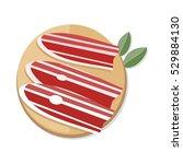 three slices of spanish dry... | Shutterstock .eps vector #529884130