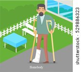 homebody on crutches with...   Shutterstock .eps vector #529886323
