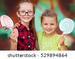 two happy little girls with... | Shutterstock . vector #529894864