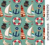 seashore retro seamless pattern ...   Shutterstock .eps vector #529898590