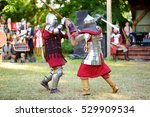 two knight fighting during... | Shutterstock . vector #529909534