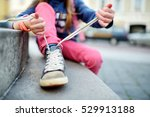 cute little girl learning to... | Shutterstock . vector #529913188