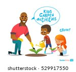 father and kids engaged... | Shutterstock .eps vector #529917550