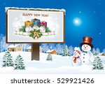 christmas card with snowman and ... | Shutterstock .eps vector #529921426