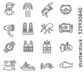 diving icons set. scuba diving... | Shutterstock .eps vector #529930840
