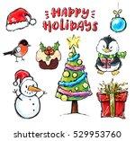 happy holidays illustrations... | Shutterstock .eps vector #529953760