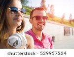 young happy smiling couple... | Shutterstock . vector #529957324