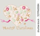 christmas vector biscuit heart... | Shutterstock .eps vector #529960084