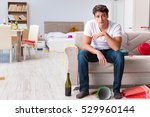 man after heavy christmas... | Shutterstock . vector #529960144