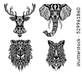 Set Of Patterned Heads Of Lion...