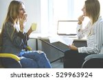 two beautiful female colleagues ... | Shutterstock . vector #529963924
