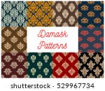 damask patterns set. vector... | Shutterstock .eps vector #529967734