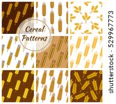 wheat and rye ears patterns set.... | Shutterstock .eps vector #529967773